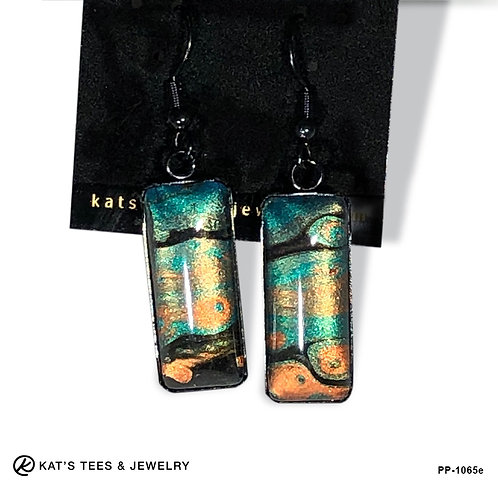Funky artistic earrings in teal, gold and copper metallic paints w black