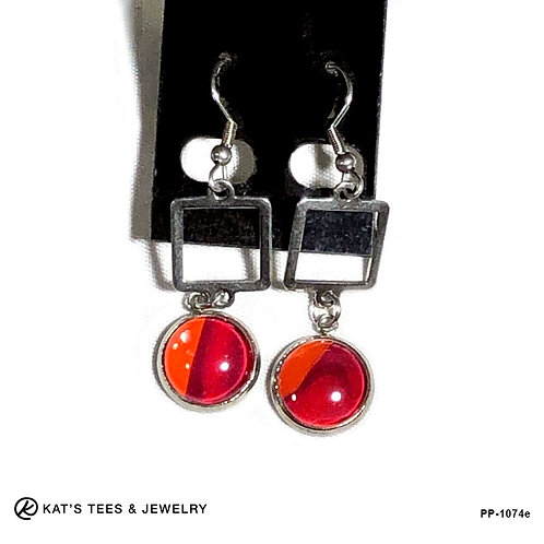 Pretty red earrings in stainless steel with purple