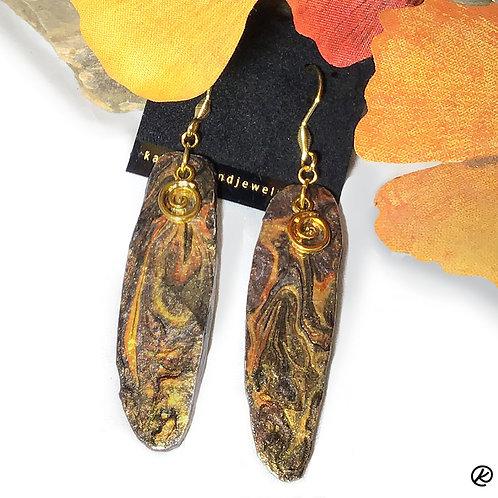 Longer slate earrings in metallic earthtones