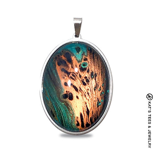Stunning stainless steel pendant with emerald green and copper