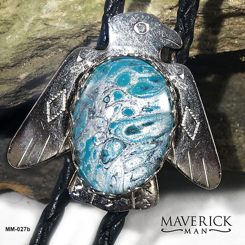 Handpainted turquoise and silver thunderbird bolo