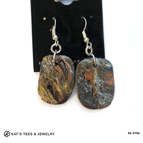 Lightweight and beautiful slate earrings in earthtone metallic poured acrylics