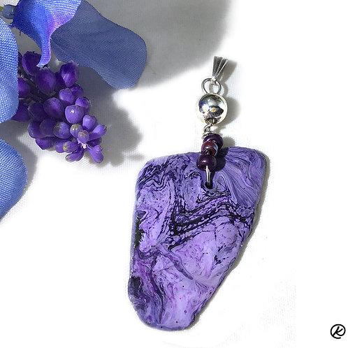 Asymetrical purple slate pendant with Swarovski bead