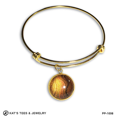 Poured acrylic tiger eye charm bracelet in gold stainless steel