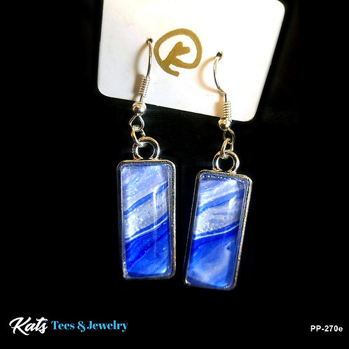 Eye-catching Poured Painting earrings - blue and white
