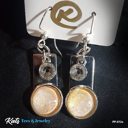 Poured Painting FANCY earrings - gold and silver - wearable art!