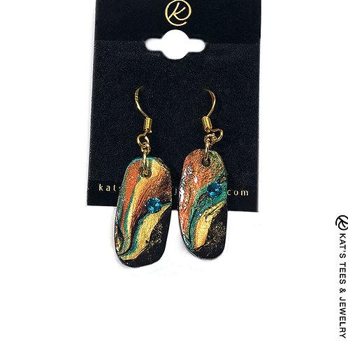 Beautiful slate earrings with Swarovski crystals