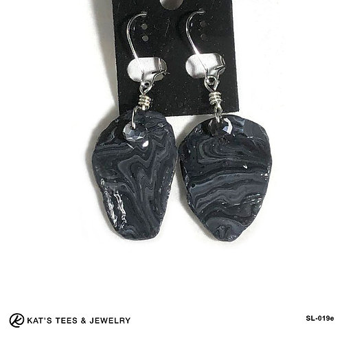 Stunning slate earrings in black and platinum poured acrylics