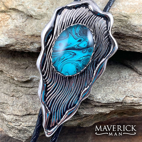 Unusual arrowhead bolo with hand painted turquoise and black stone