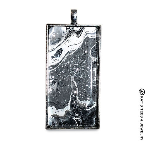 Large pendant with black and white sparkly art