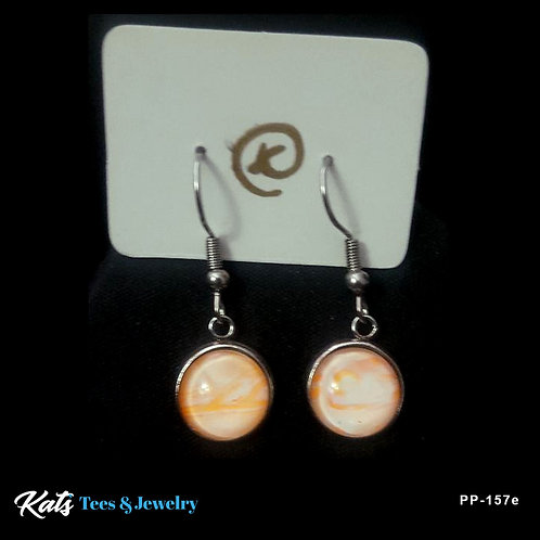 Stainless Steel earrings - orange and white - wearable art!