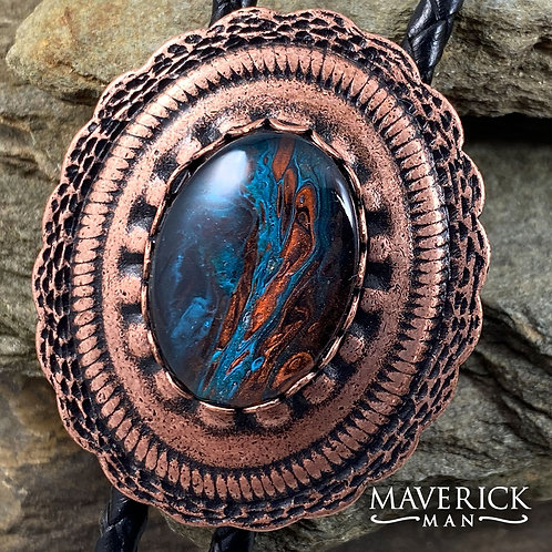 Copper bolo with hand painted turquoise and copper stone
