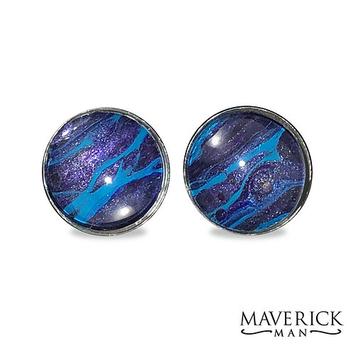 Unusual cufflinks in metallic purple with turquoise