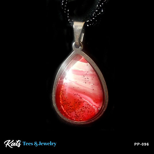 Poured Painting stainless steel pendant - crimson and white