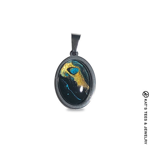 Small stainless steel pendant in turquoise gold and black