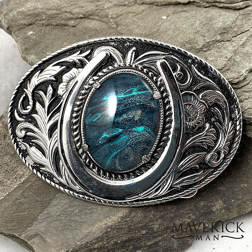 Large filigree belt buckle with hand painted stone in platinum and turquoise