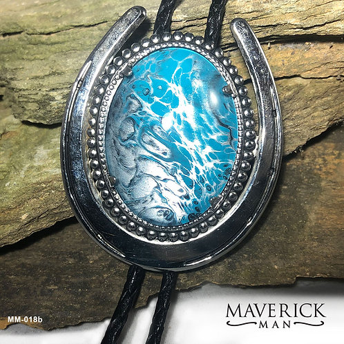 Handsome large bolo in turquoise and silver