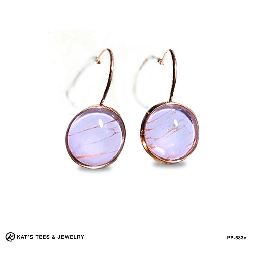 Rose Gold Plated Stainless Steel Poured Painting leverback earrings