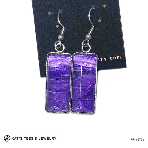 Gorgeous purple earrings in stainless steel with hints of glitter