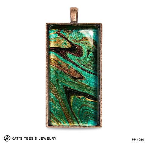 Eye-catching long pendant in stunning metallic poured acrylics