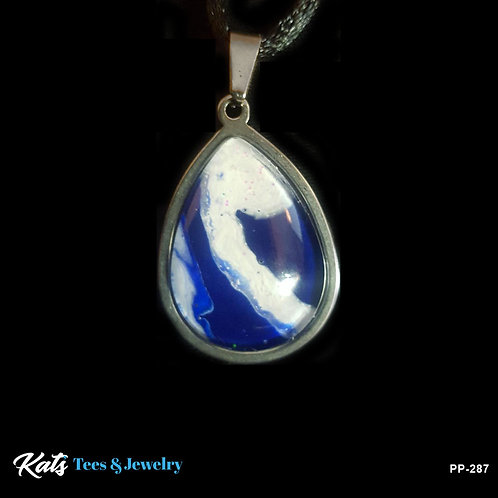 Stainless Steel Poured Painting pendant - blue and white