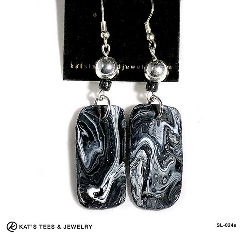 Stunning black and white slate earrings from poured acrylics