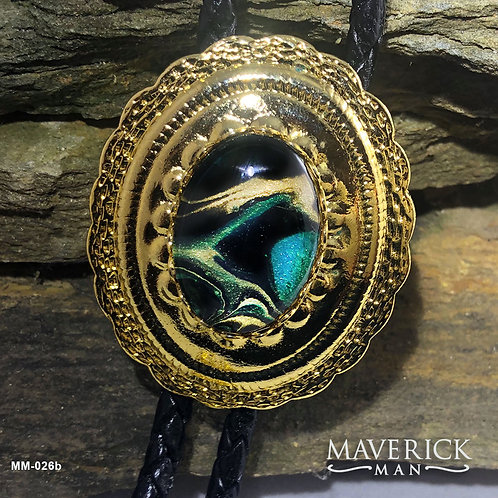 Gold scalloped bolo with metallic green and gold stone