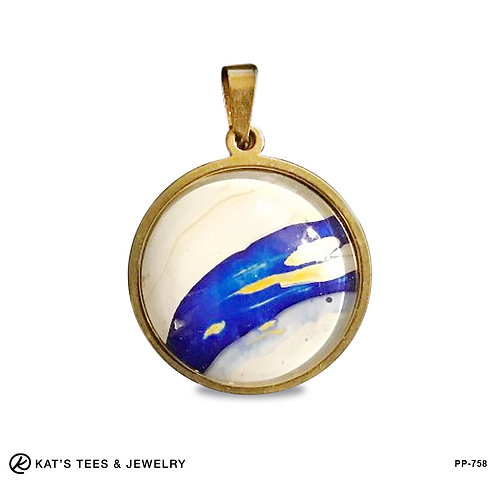 Elegant blue and gold poured acrylics in gold-plated stainless steel