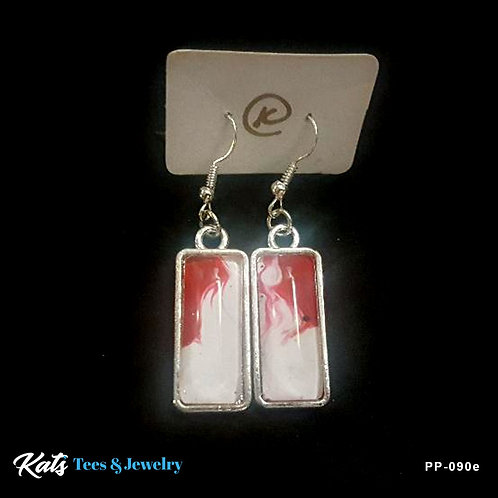 Poured Painting earrings - crimson and white - wearable art!