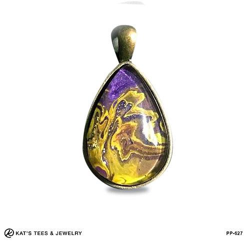 Metallic purple and gold pendant - LSU fans!