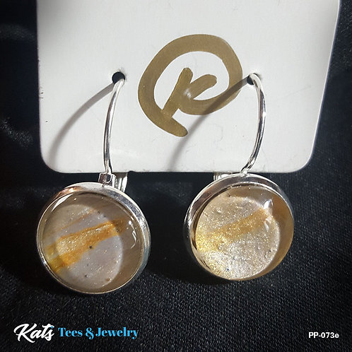 Poured Painting earrings - metallic gold and silver - wearable art!