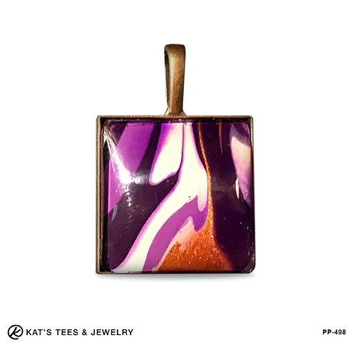 Copper pendant with purple and copper metallic paint