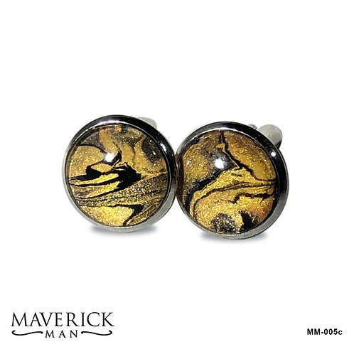 Black and gold tiger look cufflinks in stainless steel