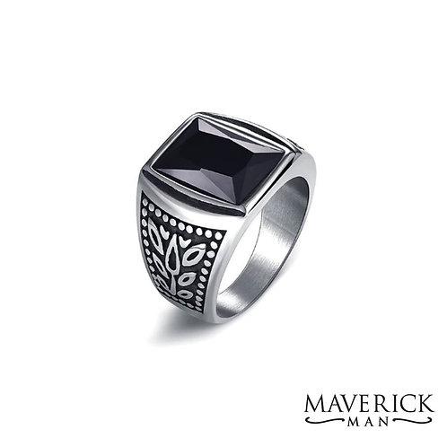 Handsome titanium ring with black faceted stone