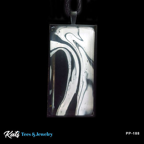 Poured Painting pendant on black - black and white - wearable art