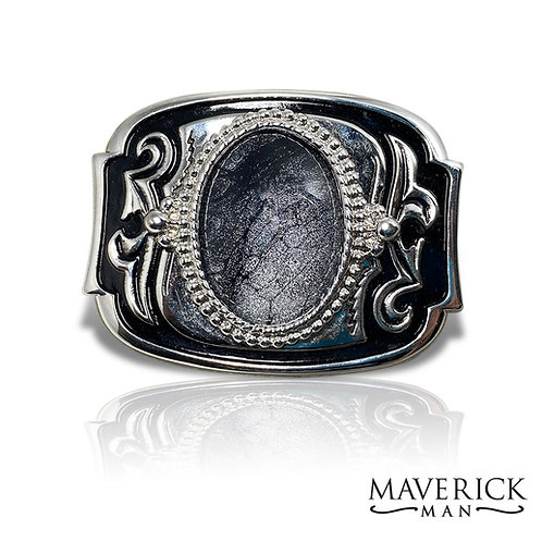 Stunning  belt buckle with hand painted platinum and black stone