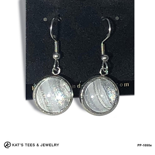 Shimmery silver on silver stainless steel earrings from poured acrylics
