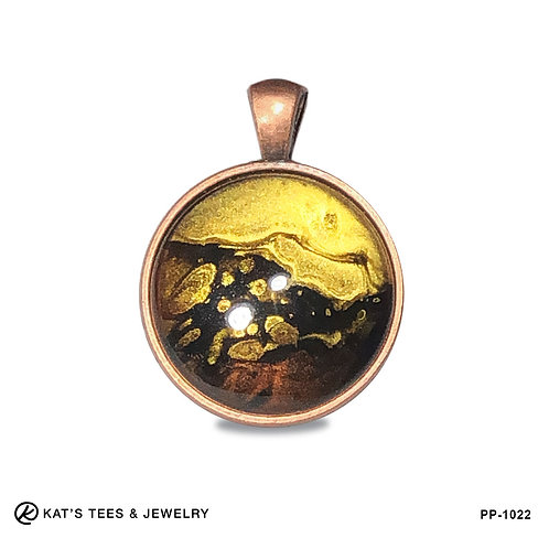 Small tiger eye pendant in rose gold copper alloy