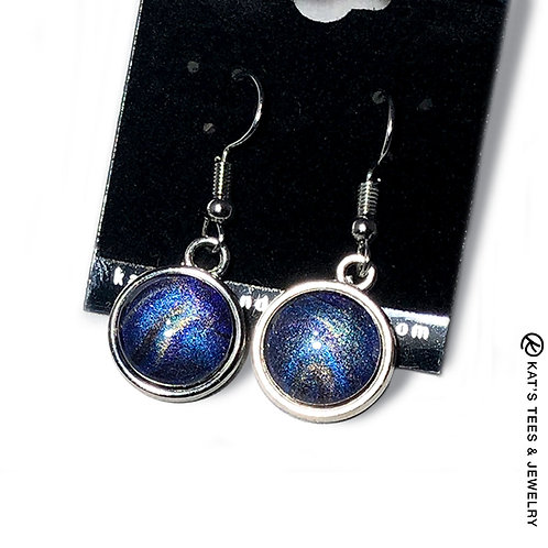 Metallic sapphire and purple earrings from poured acrylics
