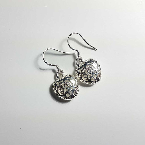 Tree of life silvertone heart earrings