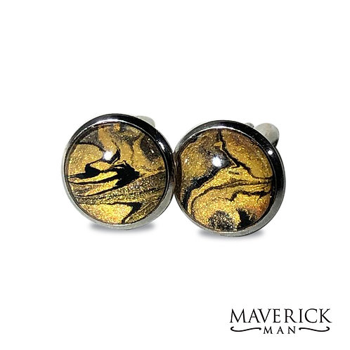 Stainless steel cufflinks in black and gold