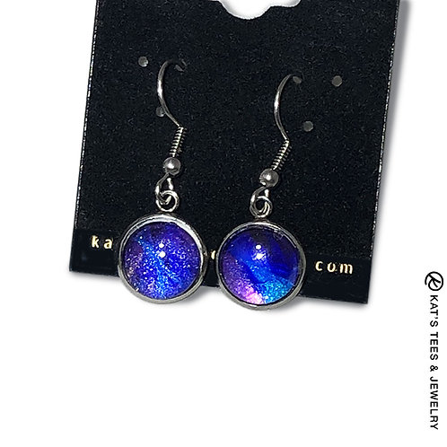 Metallic sapphire blue and purple poured acrylic earrings in stainless steel