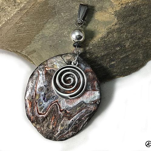 Beautiful slate pendant in metallic earthtones with spiral