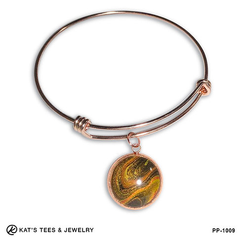 Rose gold tiger eye charm bracelet in stainless steel