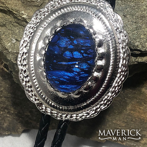 Handsome concho bolo with metallic blue and black stone