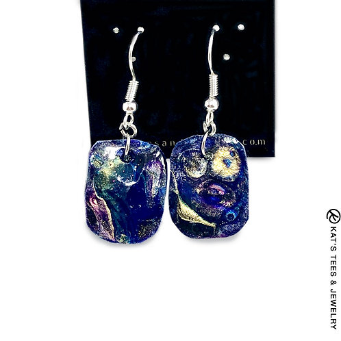 Small slate earrings in sapphire collection with stainless steel wire hooks