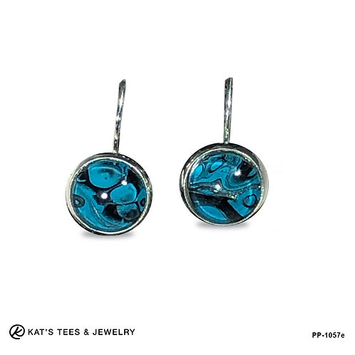 Turquoise silver and black leverback earrings from poured acrylics
