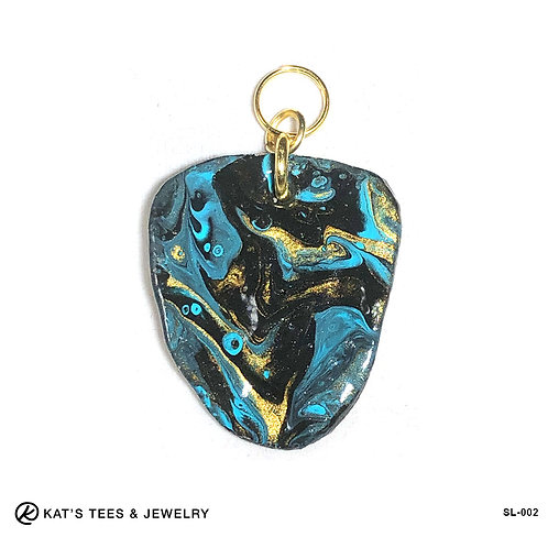 Turquoise black and gold slate pendant
