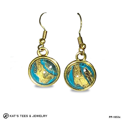 Beautiful gold turquoise and black earrings from poured acrylics