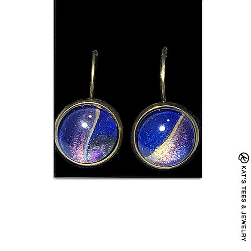 Sapphire blue leverback poured acrylic earrings